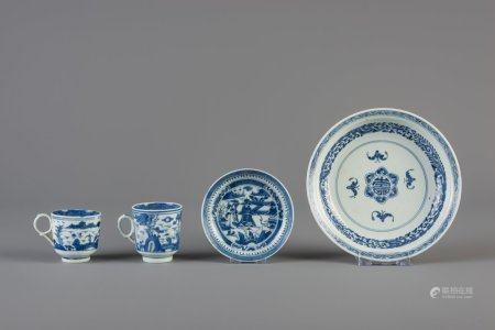 A Chinese blue and white 'bats and shou' plate, two cups and a saucer, Kangxi and 19th C.