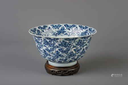 A Chinese blue and white bowl with floral design, Kangxi