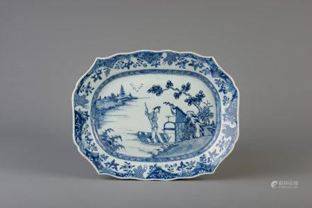 A Chinese blue and white octagonal dish with scalloped rim and a lady on a boat, Qianlong