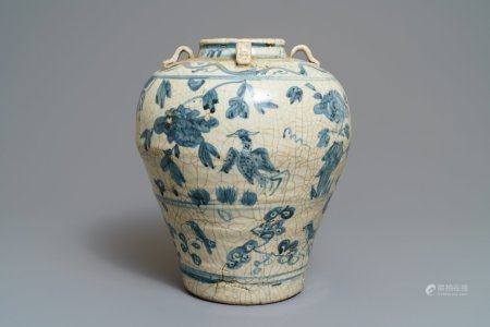 A large Chinese blue and white Swatow jar, Ming