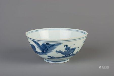 A Chinese blue and white bowl with figures in a landscape, Chenghua mark, Ming