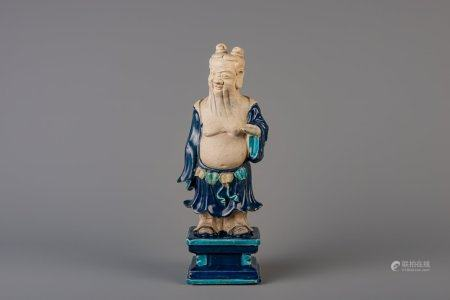 A Chinese fahua type figure of Lu Dongbin, Ming or later