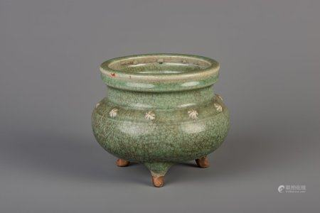 A Chinese Longquan celadon tripod censer, probably Ming