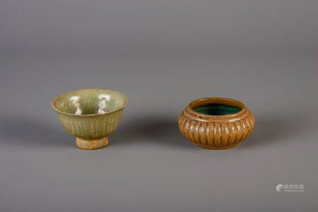 A Chinese narcissus shaped flambé glazed bowl and a green glazed bowl on foot, Song/Yuan
