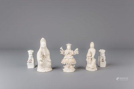 Five Chinese blanc de Chine figures, 19th C.