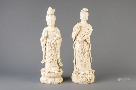Two Chinese blanc de Chine figures, 20th C.