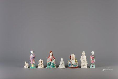 Six Chinese famille rose and blanc de Chine figures and two groups, 18th/20th C.