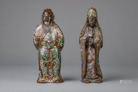 Two Japanese bronze and cloisonne enamel figures, one of which depicting Kannon, probably 19th C.