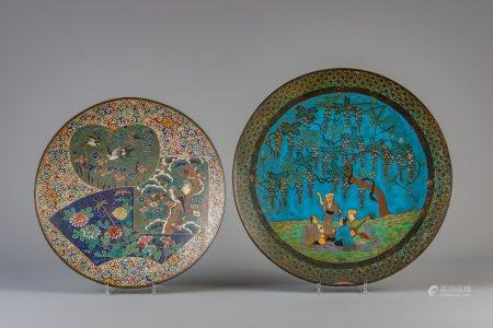 Two large Japanese cloisonne chargers with various designs, Meiji, 19th/20th C.