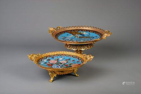 Two gilt mounted footed Japanese cloisonne chargers with birds, Meiji, late 19th C.