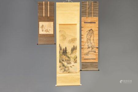 Three Japanese scroll paintings, signed, 19th/20th C.