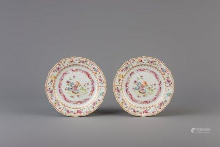 A pair of Chinese famille rose plates with a flute player, Qianlong