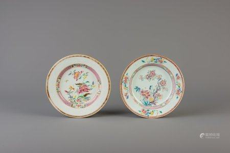 Two Chinese famille rose plates with floral design, Yongzheng and Qianlong