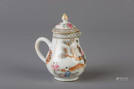 A very fine Chinese famille rose milk jug with a lady practicing calligraphy, a maiden and two boys, Yongzheng
