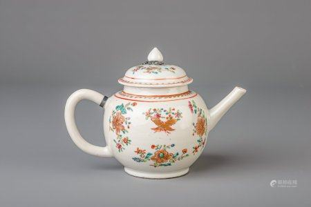 A Chinese famille rose teapot and cover with floral design, Qianlong