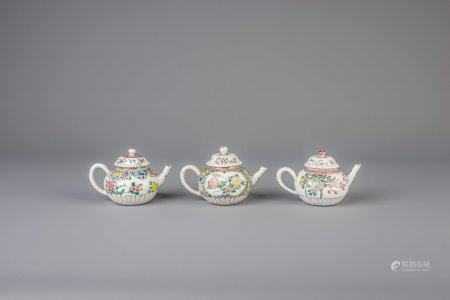 Two Chinese famille rose teapots and a Samson famille rose style teapot, Yongzheng and 19th C.