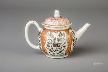 A Chinese famille rose and grisaille teapot with a floral design, Yongzheng