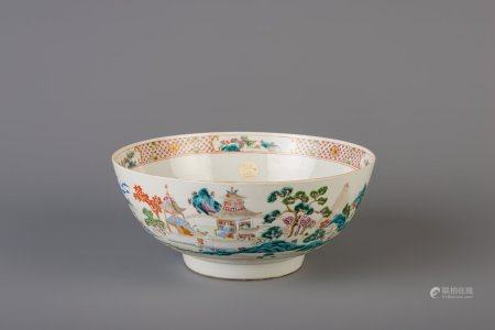 A Chinese famille rose bowl with landscape design, Qianlong