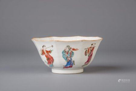 An octagonal Chinese famille rose bowl, Tongzhi mark and of the period