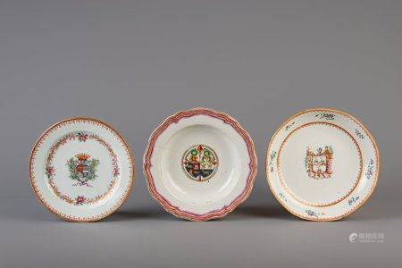 Three Chinese famille rose armorial plates, Kangxi
