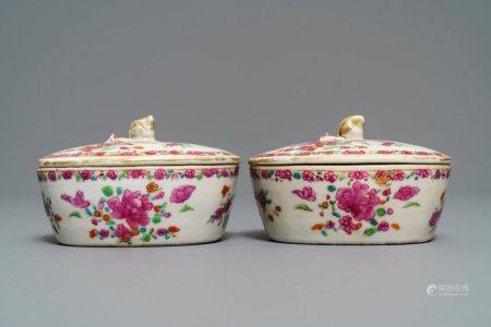 A pair of Chinese famille rose butter tubs on stands with floral design, Qianlong