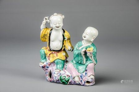 A Chinese famille rose group depicting the He He Er Xian brothers, Qianlong