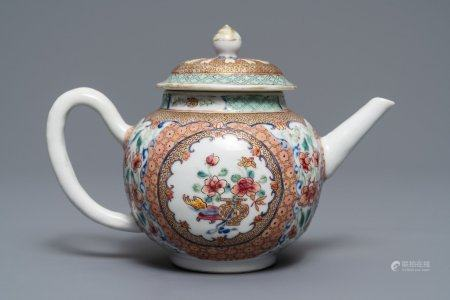 A Chinese famille rose teapot and cover with floral design, Yongzheng