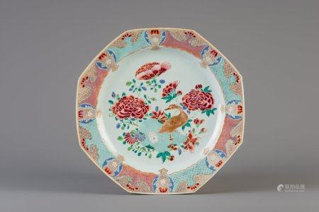 A Chinese famille rose octagonal dish with a goose and flowers, Qianlong