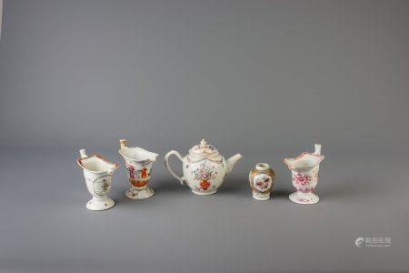 A Chinese famille rose tea caddy, three helmet shaped jugs and a teapot, Yongzheng/Qianlong