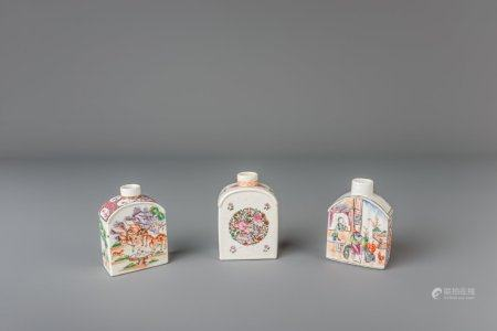 Three Chinese famille rose tea caddies, Yongzheng/Qianlong
