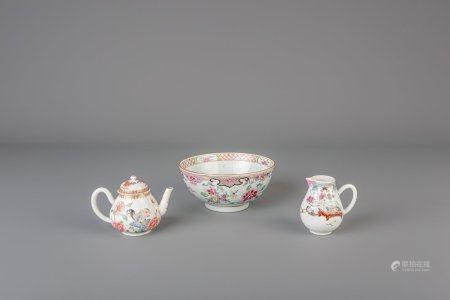 A Chinese famille rose teapot, a milk jug and a bowl, Yongzheng/Qianlong
