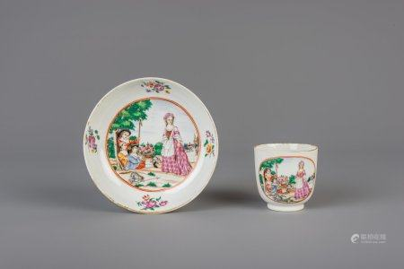A Chinese famille rose cup and saucer with European subjects, Qianlong