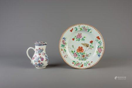 A Chinese famille rose charger and a jug and cover with European design, Qianlong