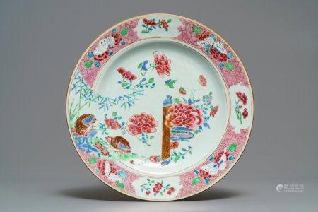 A Chinese famille rose dish with quails, butterflies and flowers, Yongzheng/Qianlong