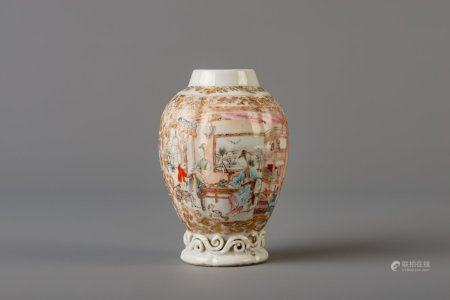 A Chinese famille rose tea caddy with a homely scene, Yongzheng