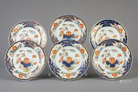 Six Chinese famille verte plates with floral design, Yongzheng/Qianlong