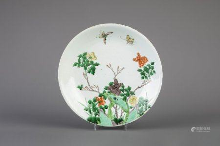 A Chinese famille verte dish with flowers and butterflies, Kangxi