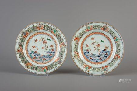 A pair of Chinese famille verte doucai plates with immortals and mandarin ducks, Kangxi
