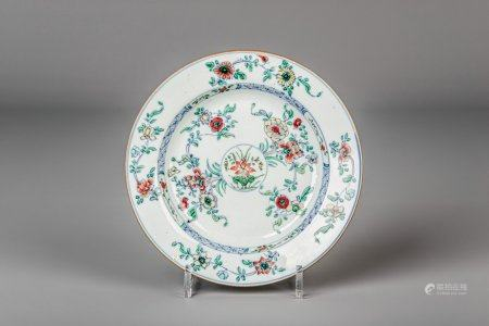 A Chinese doucai plate with floral design, Kangxi