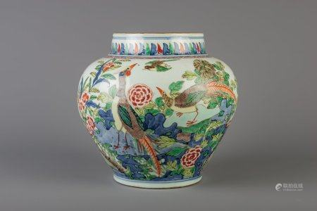 A Chinese wucai vase with pheasants, 19th C.