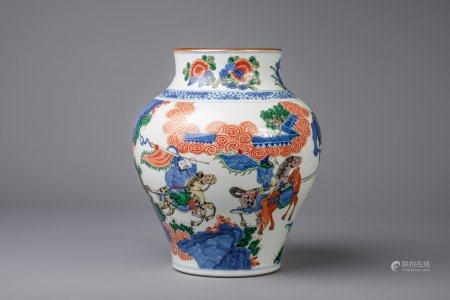 A Chinese wucai vase with figures, 19th C.