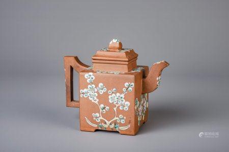 A Chinese Yixing enamel square teapot, 19th C.