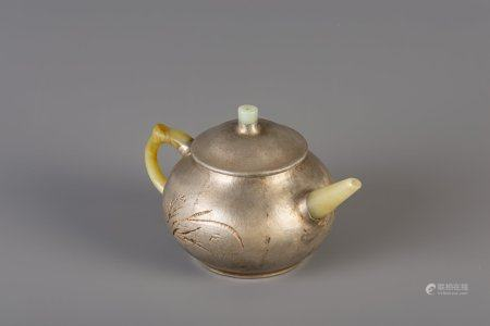 A Chinese inscribed pewter encased Yixing stoneware teapot with jade, 20th C.