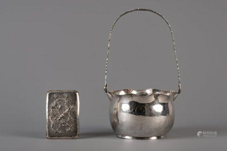 A Chinese silver basket and a cigarette box with dragons, marked, 19th/20th C.