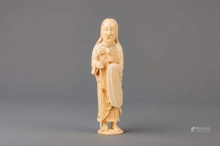 A Chinese Macau carved ivory figure of Christ as the Good Shepherd, 18th C.