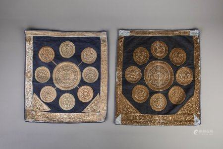 A pair of Tibetan silk brocade with gold threads temple banners, 19th C.