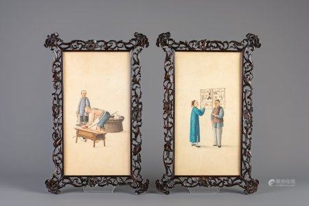 Two Chinese watercolours on paper with traditional professions in carved wooden frame, 19th C.