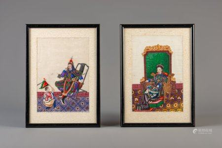 A pair of fine Chinese rice paper paintings, Canton, 19thC