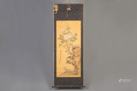 A Chinese silk scroll painting with flowers, signed, 19th C.