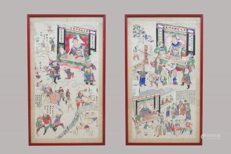 Two large Chinese paintings, ink and color on paper, 19th C.